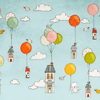 domki z balonami na niebie