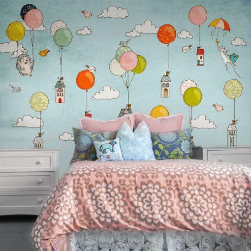 sypialnia dziecka z domkami