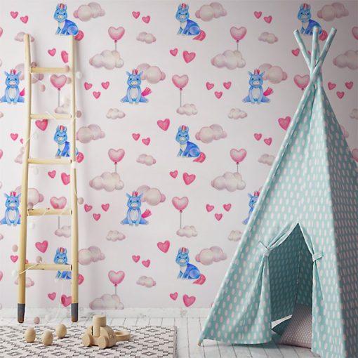 pokój dziecka z niebieskimi jednorożcami
