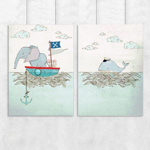 plakat zwierzątka w łódce