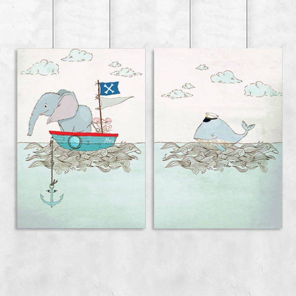 Plakat Dyptyk Z Morskimi Zwierzętami