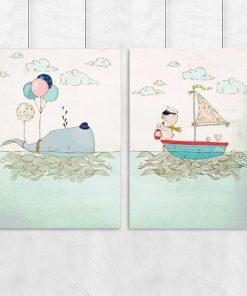 plakat dla dzieci z wielorybem i misiem