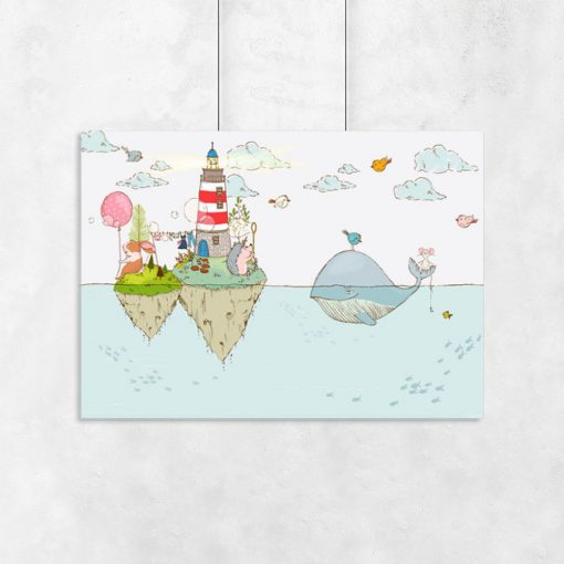 plakat do pokoju dziecka z wielorybem
