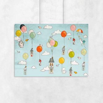 plakat z latającymi domkami