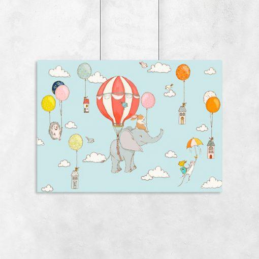 plakat z latającymi zwierzątkami