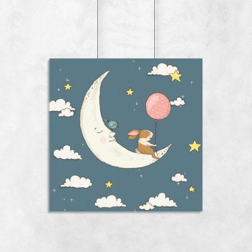 Plakat do pokoju dziecka z księżycem