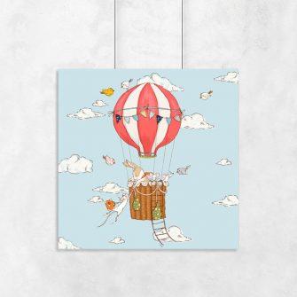 plakat z latającym balonem