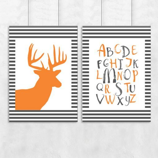 alfabet i jeleń na dyptyku