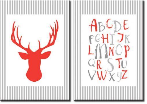 czerwony jeleń i abecadło na plakacie