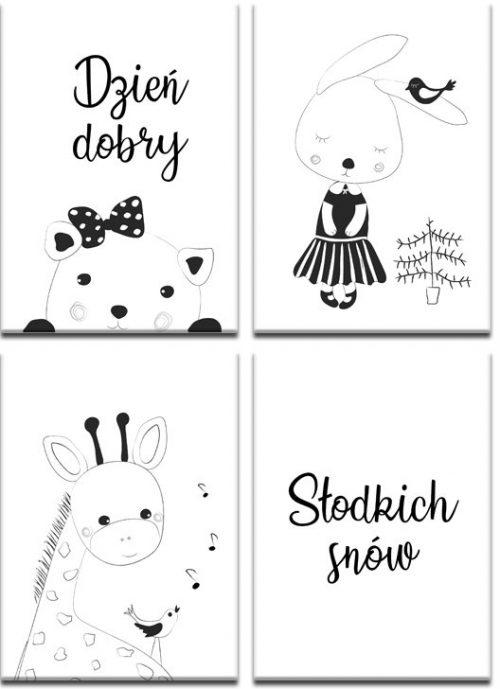 biało-czarne plakaty ze zwierzętami