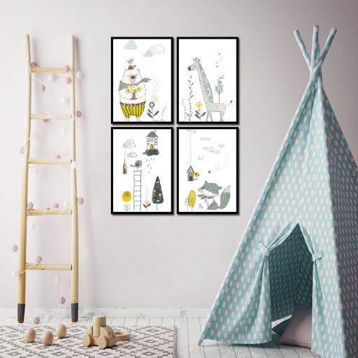 cztery plakaty dla dziecka