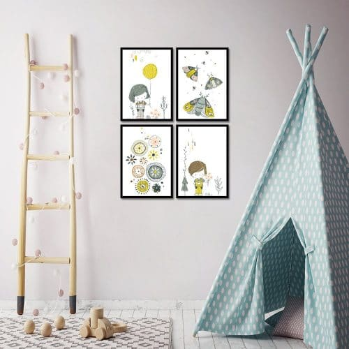 cztery plakaty do pokoju
