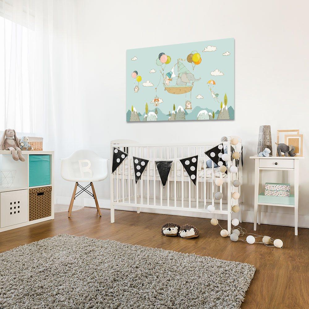 6aaca3532edced Obraz do pokoju malucha z motywem zwierzątek podróżujących balonami