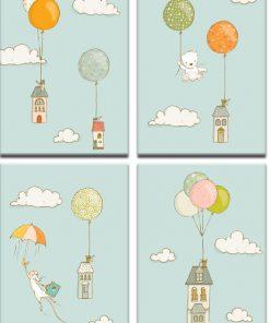 balony i domki na plakacie