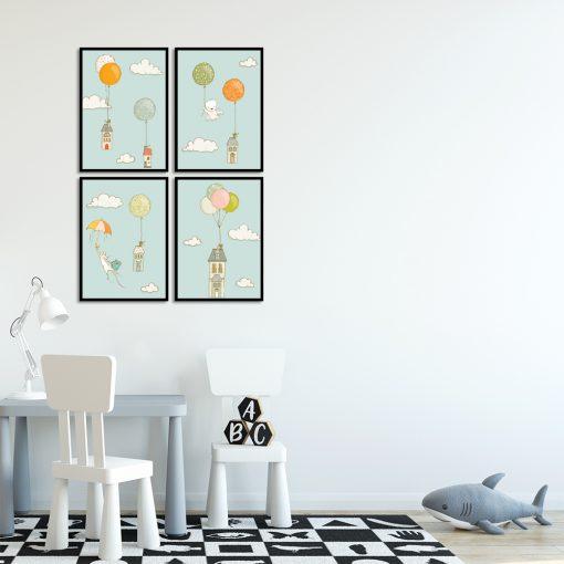 zestaw plakatów kolorowych