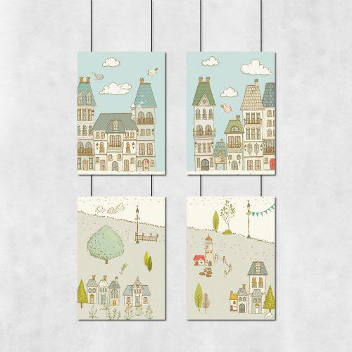 cztery plakaty z miastem dla dziecka