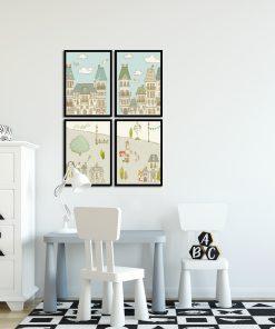 cztery plakaty z domkami