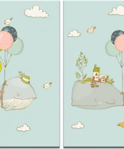 obraz do pokoju dziecka z wielorybami