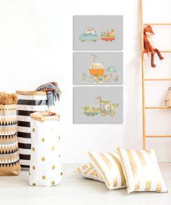 tryptyk ze zwierzątkami do pokoju dziecka