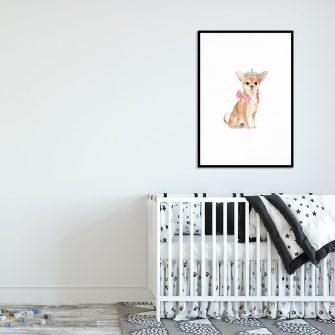 pies Chihuahua na plakacie