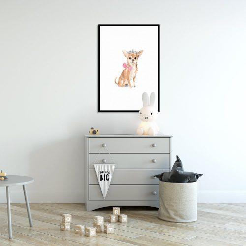 pies w koronie na plakacie