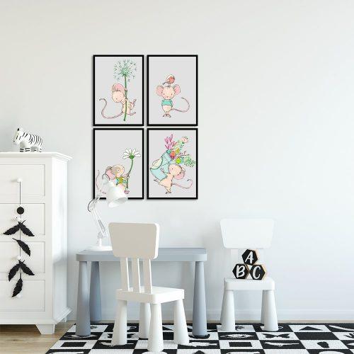 kolorowe myszki na plakacie