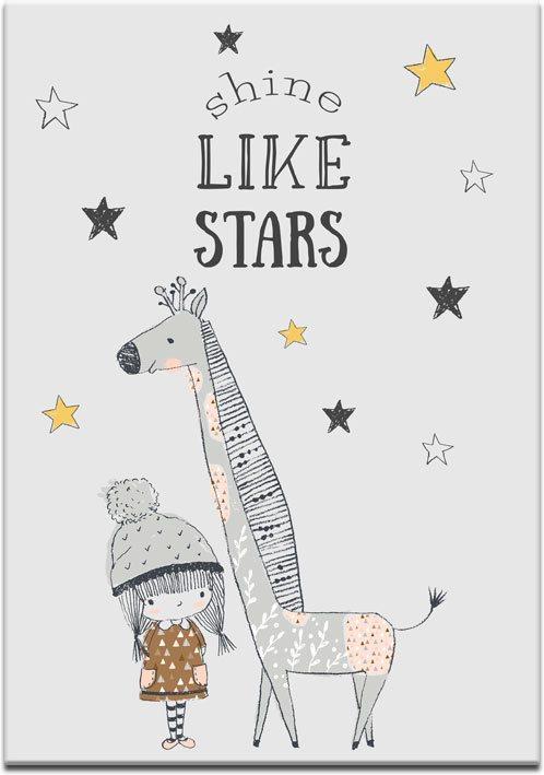 plakat z żyrafą i dziewczynką
