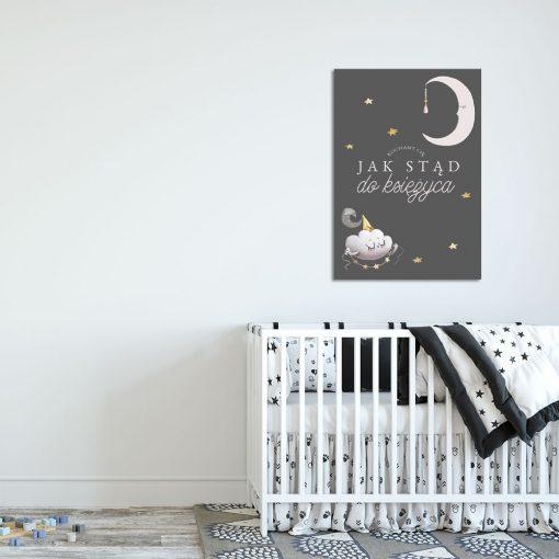 księżyc i chmurka na plakacie