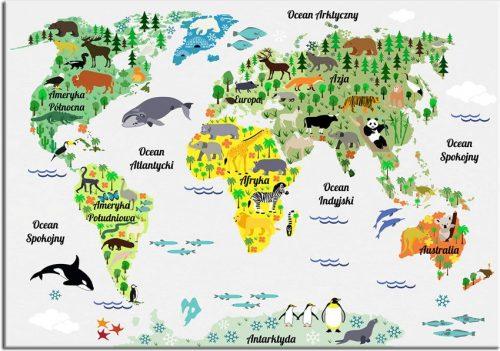 plakat z mapą zwierząt