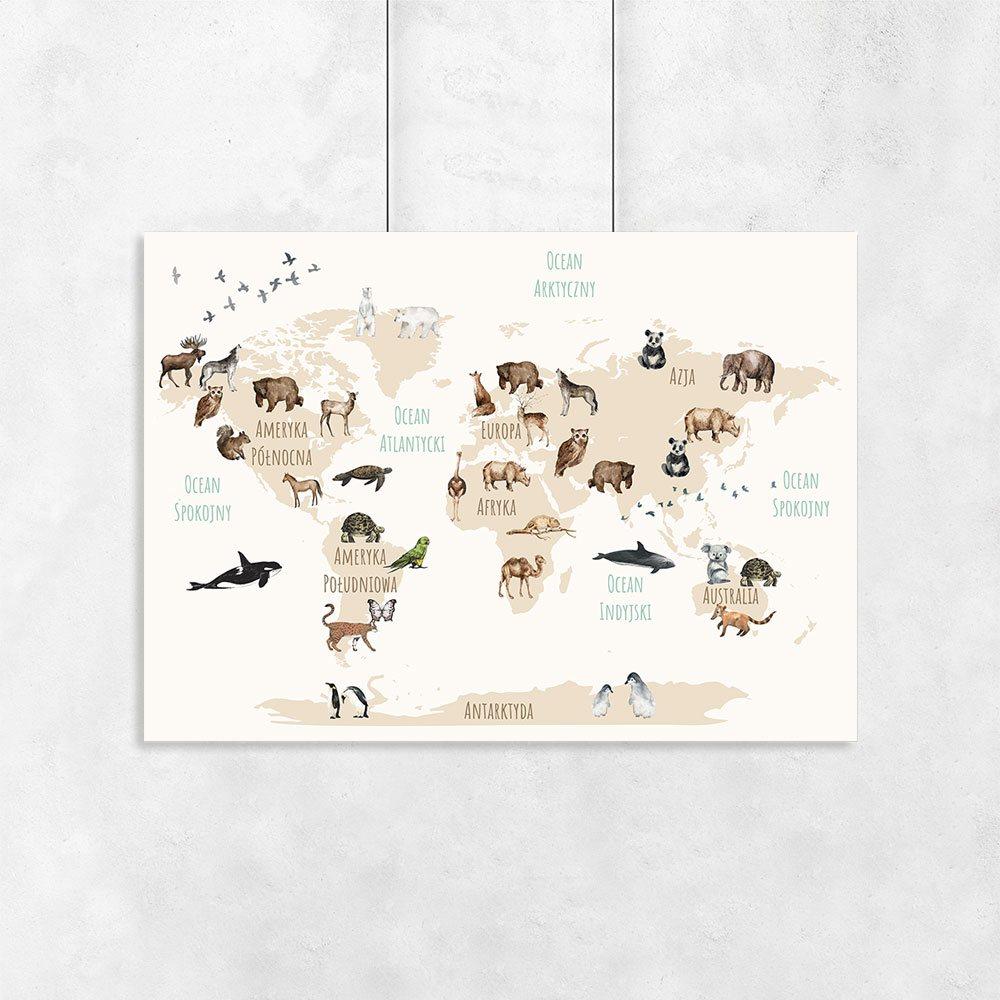 Plakat Z Gatunkami Zwierząt Na Kontynentach