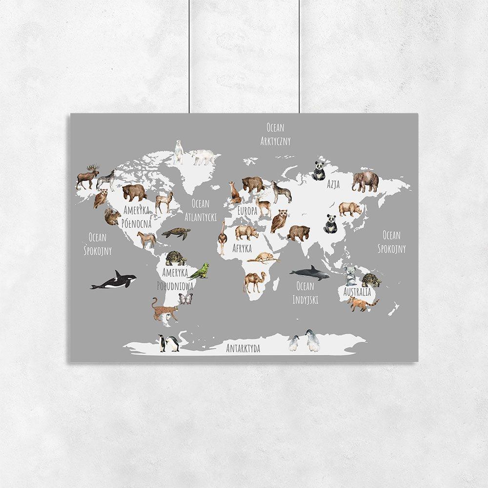 Plakat Poziomy Zwierzęta Na Mapie świata