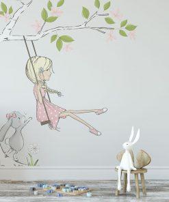 Szara fototapeta do pokoju dziewczynki