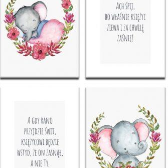 słoń i napisy na plakatach