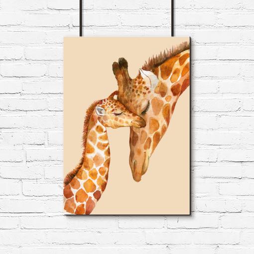 żyrafki na pionowym plakacie