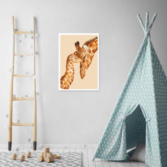 dwie żyrafy jako plakat