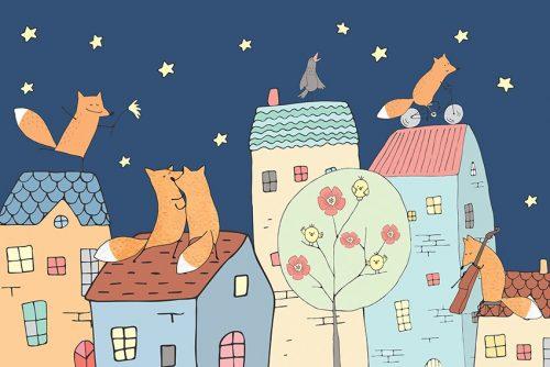 nocna fototapeta z domkami