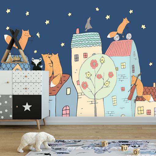 dziecięca dekoracja z domkami