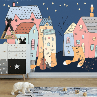 domki jako dekoracja do pokoju