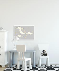 plakat poziomy z księżycem