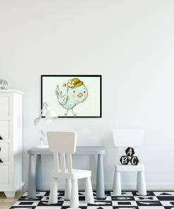 motyw ptaszka na plakacie
