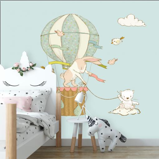 motyw króliczków w balonie