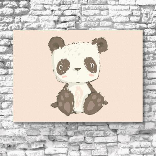 Plakat różowy z motywem pandy