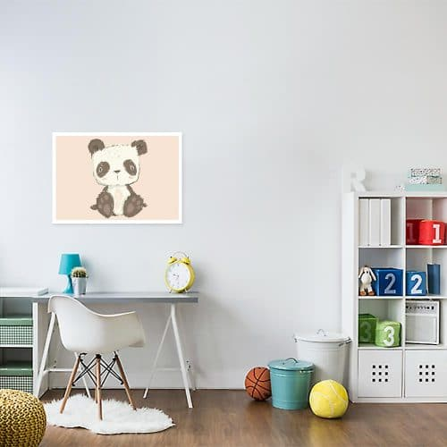 Plakat różowy z pandą