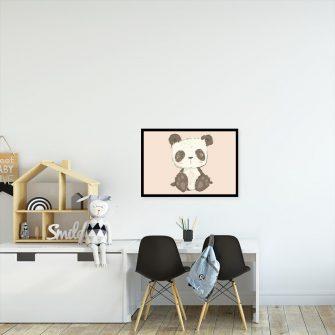 Plakat panda na różowym tle