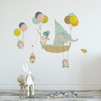 Naklejka zwierzęta i baloniki