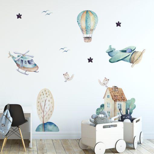 Naklejka motyw samolotów i balona