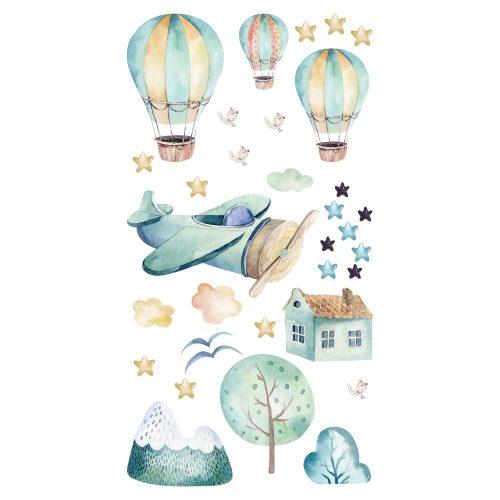 Naklejka ścienna z balonami i samolotem