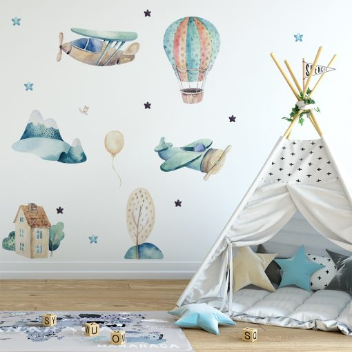 Naklejka na ścianę balon i samoloty