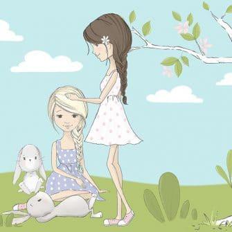 Fototapeta dziewczynki i króliczki