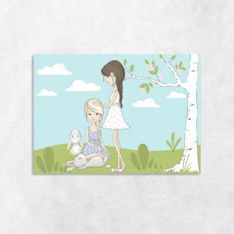 Obraz króliczki i dziewczynki na łące